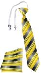TigerTie Sicherheits Krawatte + Einstecktuch in gelb gold silber grau gestreift