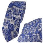 schmale TigerTie Krawatte + Einstecktuch in blau silber Paisley gemustert