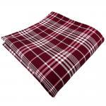 Einstecktuch in rot bordeaux weinrot silber grau kariert - Tuch 100% Polyester