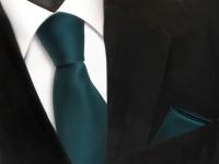 schöne TigerTie Krawatte + Einstecktuch grün dunkelgrün uni - Binder Polyester
