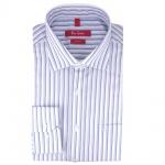 Ben Green Herrenhemd blau weiß bügelfrei langarm - New-Kent-Kragen Hemd Gr.39