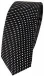 schmale TigerTie Seidenkrawatte schwarz silber gepunktet - Krawatte 100% Seide