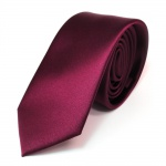 schmale TigerTie Satin Krawatte in rot bordeaux uni einfarbig - 100% Polyester