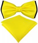 doppelfarbige TigerTie Fliege + Einstecktuch in gelb schwarz Uni + Box