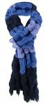Strickschal in blau marine flieder gemustert mit Fransen - Schal 27x220 cm