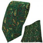 TigerTie Krawatte + Einstecktuch in grün rot gold schwarz Paisley