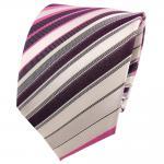 TigerTie Seidenkrawatte lila rosa weiß creme schwarz gestreift - Krawatte Seide