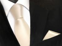 schöne TigerTie Krawatte + Einstecktuch creme beige elfenbein uni - Binder Tie