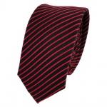 Schmale TigerTie Designer Seidenkrawatte rot schwarz gestreift - Krawatte Seide
