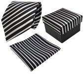 3er Set TigerTie Krawatte + Einstecktuch + Box in schwarz silber grau gestreift