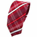 Schmale TigerTie Krawatte rot dunkelrot weiß schwarz grau gestreift - Binder Tie