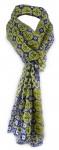 Schal in gelb blau grau schwarz gemustert - Gr. 180 cm x 50 cm - 100% Baumwolle