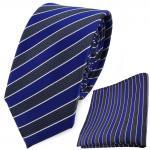 schmale TigerTie Krawatte + Einstecktuch in blau grau blaugrau silber gestreift