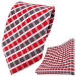 TigerTie Designer Krawatte + Einstecktuch rot grau silber weiss gestreift