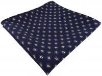 TigerTie handrolliertes Seideneinstecktuch in marine blau gold Paisley gemustert