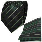TigerTie Seidenkrawatte + Seideneinstecktuch in grün moosgrün schwarz gestreift