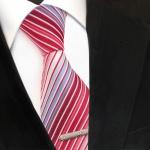 XXL Designer Krawatte rot blau hellblau weiß creme gestreift + Krawattennadel