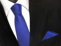 schmale Schlips Krawatte + Einstecktuch blau royalblau uni Binder Tie Polyester