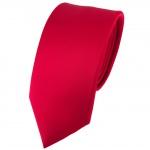 schmale TigerTie Satin Seidenkrawatte in rot einfarbig - Krawatte 100% Seide