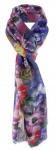 Schal in lila blau flieder rosa orange gelb grün mit Blumenmotiven gemustert