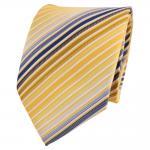 XXL Designer Krawatte gelb gold blau weiß creme gestreift - Binder Tie