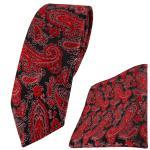 schmale TigerTie Krawatte + Einstecktuch in rot schwarz silber Paisley gemustert