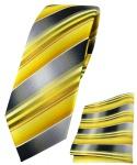 schmale TigerTie Krawatte + Einstecktuch in gelb gold silber anthrazit gestreift
