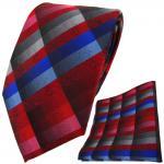 TigerTie Krawatte + Einstecktuch in rot blau rosa anthrazit grau silber kariert