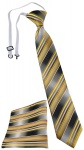 TigerTie Kinderkrawatte + Einstecktuch in gold gelb silber anthrazit gestreift