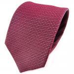 TigerTie Seidenkrawatte rot bordeaux weinrot silber grau gepunktet - Krawatte
