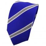 Enrico Sarto Seidenkrawatte blau silber grau gestreift - Krawatte Seide Tie