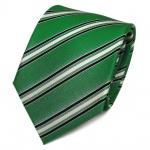 TigerTie Designer Seidenkrawatte grün schwarz weiß gestreift - Krawatte Seide