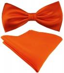 Seidenfliege + TigerTie Satin Einstecktuch in Uni orange - 100% reine Seide
