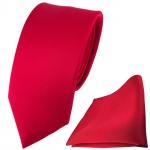 schmale TigerTie Satin Seidenkrawatte + Seideneinstecktuch rot einfarbig Uni