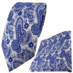 TigerTie Designer Krawatte + Einstecktuch in blau silber Paisley gemustert