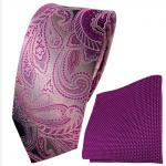 Set schmale Seidenkrawatte + Einstecktuch violett flieder gemustert - 100% Seide