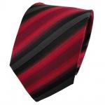 TigerTie Seidenkrawatte rot anthrazit schwarz gestreift - Krawatte Seide