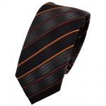 schmale Kinderkrawatte schwarz anthrazit orange gestreift - Krawatte Tie Binder