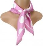 TigerTie Seiden Nickituch Satin in rosa weiss gepunktet - Größe 50 x 50 cm