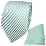 TigerTie Seidenkrawatte + Seideneinstecktuch in mint grün weiß gestreift
