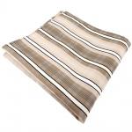 Einstecktuch beige elfenbein weiß schwarz grau gestreift - Tuch 100% Polyester
