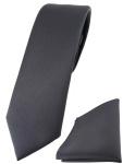 schmale TigerTie Designer Krawatte + Einstecktuch in anthrazit einfarbig uni
