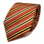 schöne Mexx Seidenkrawatte in rot orange grau schwarz gestreift - Tie Krawatte