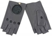 Damen Handschuhe fingerlos - hochwertiges weiches Schafsleder grau - Gr. 7, 5