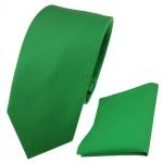 schmale Designer TigerTie Krawatte + Einstecktuch grün leuchtgrün Uni Rips
