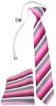 TigerTie Sicherheits Krawatte + Einstecktuch in rosa pink grau weiss gestreift
