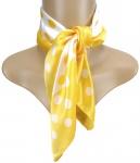 Damen Satin Nickituch in gelb weiß gepunktet - 100% Seide - Gr. 53 x 53 cm