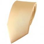 Modische TigerTie Satin Seidenkrawatte in beige gold bronze einfarbig Uni