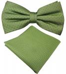 schöne Designer Seidenfliege + Seideneinstecktuch in grün maigrün blau gepunktet