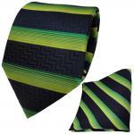Set Krawatte + Einstecktuch grün blau dunkelblau schwarz gestreift - 100% Seide